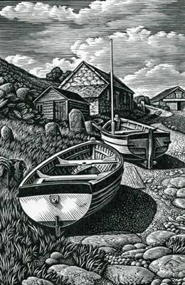 Beached Boats, Penberth by Howard Phipps