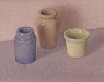 Blue, Ochre & Green On Lilac & Cream by David Stubbs