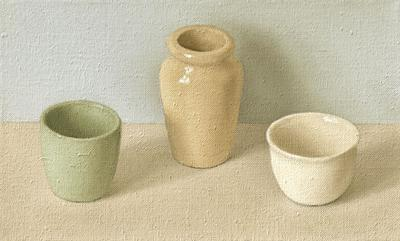 Green, Ochre & White On Grey & Blue by David Stubbs