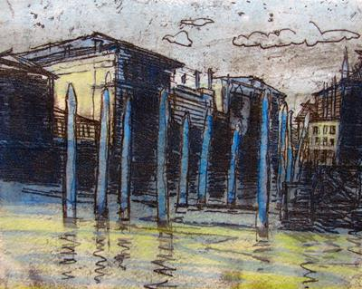 Venice, Blue Poles, Grand Canal by Isobel Johnstone