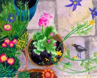 Garden Pots With Bird by Suzy Fasht