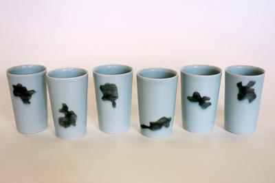 Six Celadon Beakers With Grey Shapes by Chris Keenan