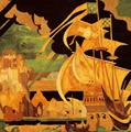 <em>The Galleon</em>, a marquetry panel designed by Frank Brangwyn and made by The Rowley Gallery.  Picture courtesy of the Cecil Higgins Art Gallery, Bedford.
